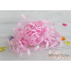 Лента декоративная Листочки, цвет розовый, 2.5см*1м