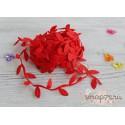 Лента декоративная Листочки, цвет красный, 2.5см*1м