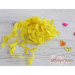Лента декоративная Листочки, цвет жёлтый, 2.5см*1м