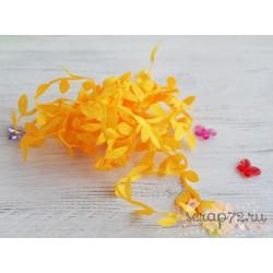 Лента декоративная Листочки, цвет оранжевый, 2.5см*1м