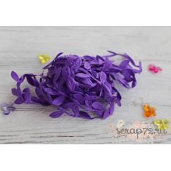 Лента декоративная Листочки, цвет фиолетовый, 2.5см*1м