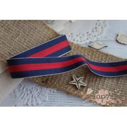 Лента декоративная Морская полоска, цвет сине-красный, 1.9см*1м