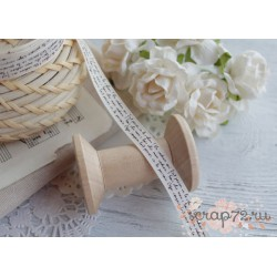 Лента декоративная с принтом, цвет белый, 1.9см*1м