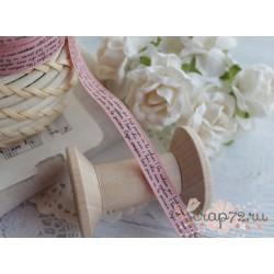 Лента декоративная с принтом, цвет розовый, 1.9*90см