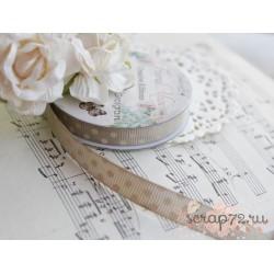 Лента декоративная Dovecraft Floral Muse Half Горошек на сером, 1см, 2м