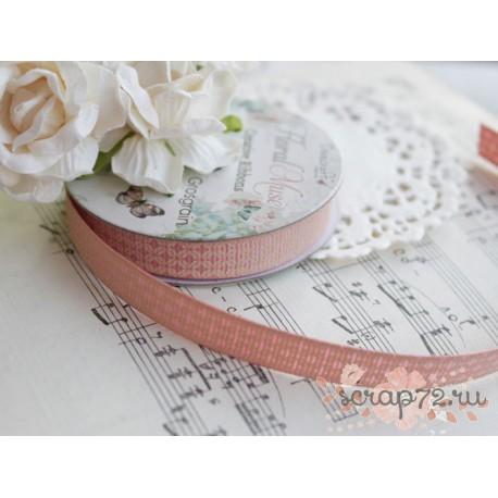Лента декоративная Dovecraft Floral Muse Half Ромбики, роза и беж, 1см, 2м