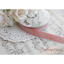 Лента декоративная Dovecraft Floral Muse Half Бабочки на розовом, 1см, 2м