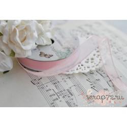 Лента декоративная Dovecraft Floral Muse Half Розовый шелк, 1см, 2м