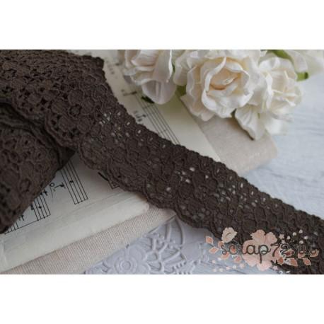 Тесьма кружевная, ПЭ, 3 см, цвет коричневый, 1 м