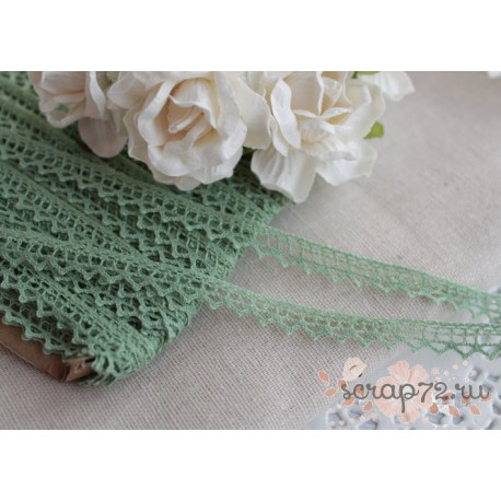 Тесьма кружевная, хлопок, 0.7 см, цвет зеленый, 1 м