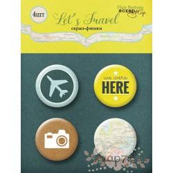 Набор скрап-фишек для скрапбукинга 4шт от Scrapmir Let's Travel