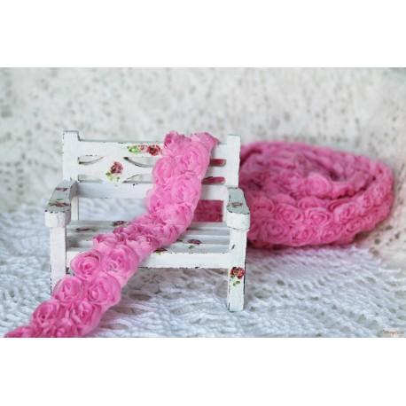 Лента декоративная с розами, цвет розовый, ширина 25мм, 45см