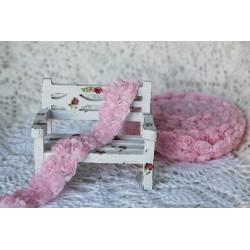 Лента декоративная с розами, цвет светло-розовый, ширина 25мм, 45см