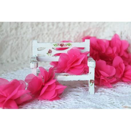 Шифоновые цветочки, цвет малиновый, диаметр 5см, 1шт