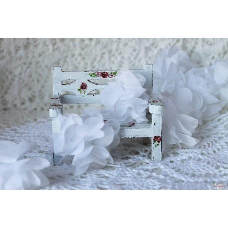 Шифоновые цветочки, цвет белый, диаметр 5см, 1шт