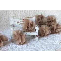 Шифоновые цветочки, цвет какао, диаметр 5см, 1шт