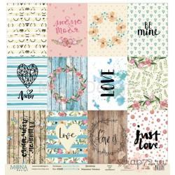Лист бумаги для скрапбукинга 30,5х30,5 см 190 гр/м односторон Cards  - Love is in the air