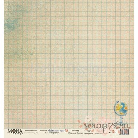 Лист бумаги для скрапбукинга 30,5х30,5 см 190 гр/м односторон География - Школьная пора