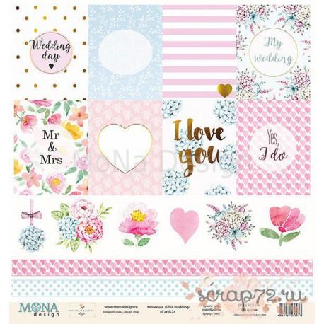 Лист бумаги для скрапбукинга 30,5х30,5 см 190 гр/м двусторон Cards2 - Chic wedding