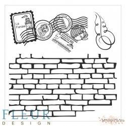 """Набор штампов Стена с марками, коллекция """"Фоновые"""", 10,5х10,5 см FD4010011"""
