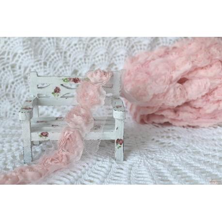 Лента декоративная с крупными розами, цвет светло-розовый, ширина 50мм, отрез 50см