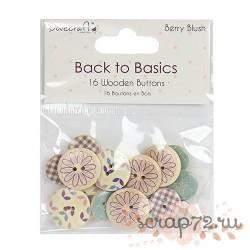 Набор пуговиц Back to Basics - Berry Blush, 16шт