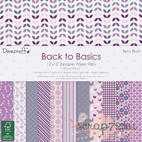 1/3 набора бумаги Dovecraft Back to Basics - Berry Blush, 30*30см, 12л, 150гр