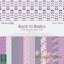 1/4 набора бумаги Dovecraft Back to Basics - Berry Blush, 20*20см, 12л, 150гр