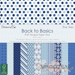 1/4 набора бумаги Dovecraft Back to Basics - Blue Skies, 20*20см, 12л, 150гр