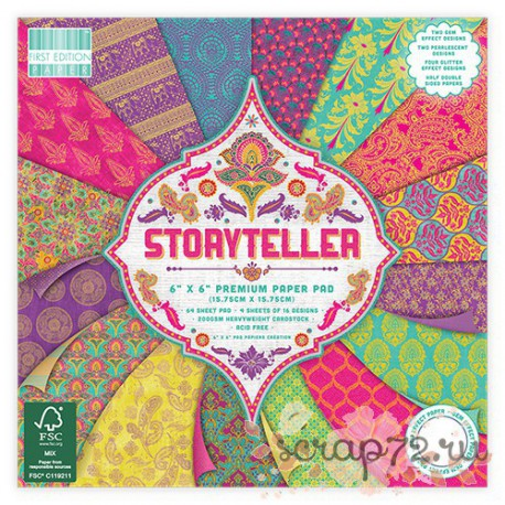 1/4 набора бумаги First Edition Storyteller, 15*15см, 16л, 200гр