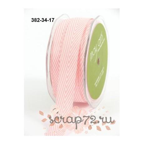 Лента Twill от May Arts, шеврон, цвет розовый, 19мм, 90см
