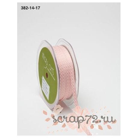 Лента Twill от May Arts, шеврон, цвет розовый, 6мм, 90см