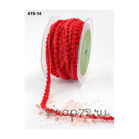 Тесьма с помпонами от May Arts, цвет красный, 10мм, 90см