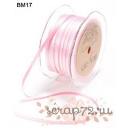Атласная лента от May Arts двухцветная, цвет розовый/нежно-розовый, 5мм, 90см