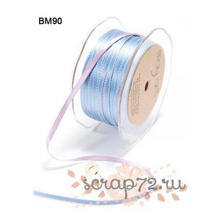 Атласная лента от May Arts двухцветная, цвет розовый/нежно-голубой, 5мм, 90см