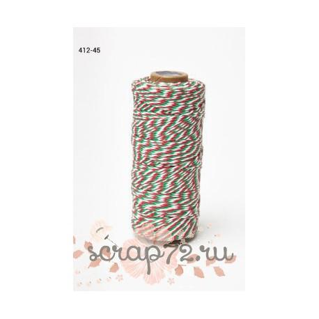 Двухцветный шпагат от May Arts, цвет белый/красный/зеленый, 90см