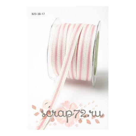 Декоративная лента от May Arts, цвет сливочный/розовый, 10мм, 90см
