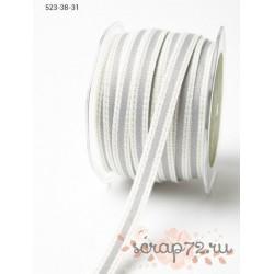 Декоративная лента от May Arts, цвет сливочный/серый, 10мм, 90см