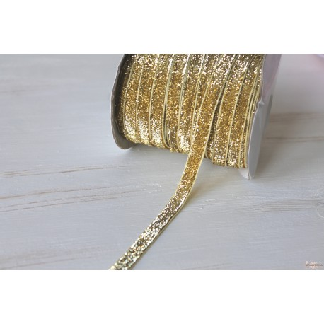 Лента декоративная с глиттером, бархатная, цвет золото, ширина 1см, отрез 90см