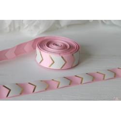Лента декоративная с золотым шевроном, цвет нежно-розовый/белый, ширина 25мм, отрез 90см