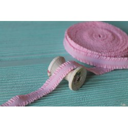 Лента-резинка с рюшами, цвет нежно-розовый, ширина 16мм, отрез 90см