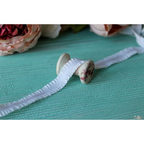 Лента-резинка с рюшами, цвет белый, ширина 16мм, отрез 90см
