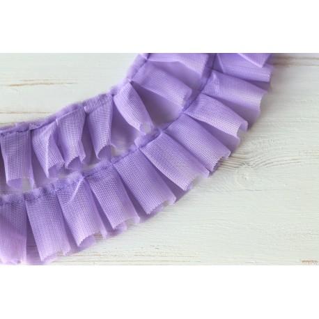 Лента Плиссе, цвет лиловый, ширина 5см, отрез 45см