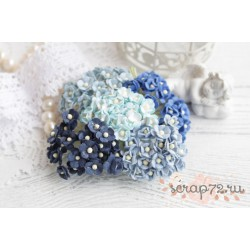 Букетик миниатюрных лютиков, оттенки синего, 10мм, 10 шт.