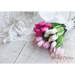 Букетик тюльпанов, 20мм, оттенки розового, 5шт.