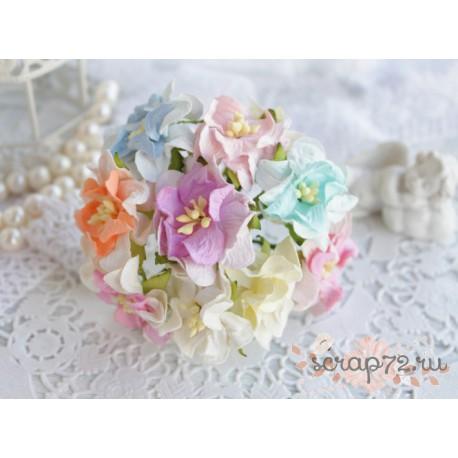 Букетик гардений кудрявых, пастельный микс, 35мм, 10 цветочков