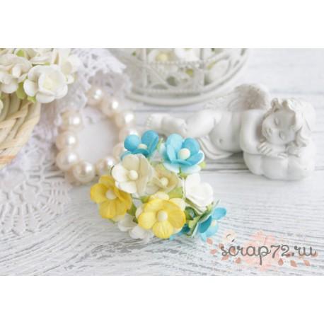 Букетик лютиков, сочетание желтого и небесно-голубого, 1.5см, 5 цветочков