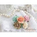 Букетик роз Мальбери, цвет пастельный микс, 25мм, 5 цветочков