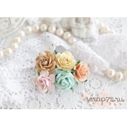 Букетик роз Мальбери, цвет пастельный микс, 20мм, 5 цветочков