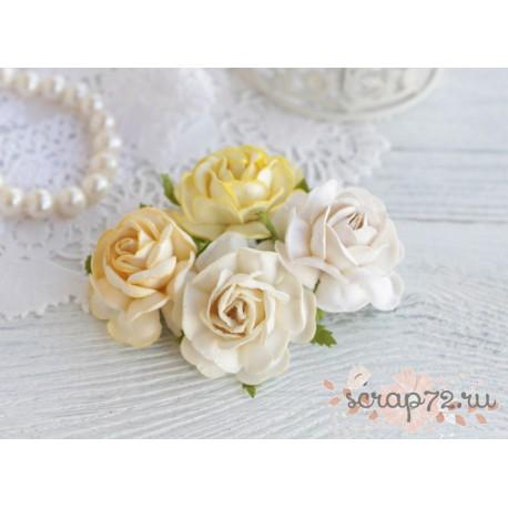 Букетик чайных роз, цвет кремовый, 4см, 4шт
